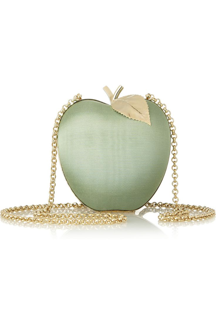 Anya Hindmarch | Apple satin-moiré shoulder bag | NET-A-PORTER.COM