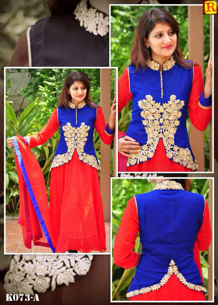 "Red Long full suit with jacket in full hand work.  Available in size 34"" to 56"". To order what's app on +919840640665  Follow us on www.facebook.com/beigebliss"