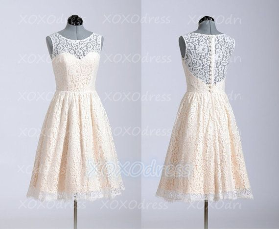 Lace Bridesmaid Dress by XOXOdress, $89.00 I really Like this and Erin you could have a slightly different color