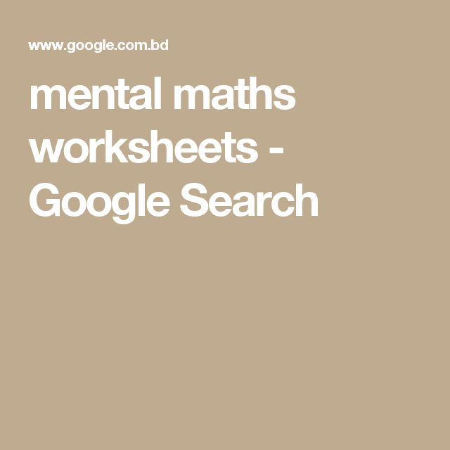 mental maths worksheets - Google Search