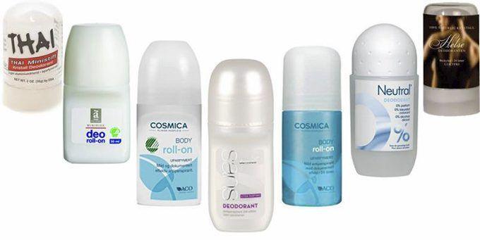 TRYGGE: Disse inneholder garantert ingen uhumskheter. Fra venstre: Thai Ministift Kristall Deodorant, Änglamark Deo, Cosmica Body Roll-on, Svanemerket, Dermica Sans (uten parfyme), Cosmica Body Roll-on, Neutral Deo og Helsedeodoranten. Foto: Produsentene