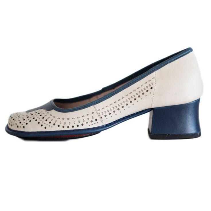 Sapato Boneca Salto Grosso Quadrado Estilo Retrô Vintage Areia Azul
