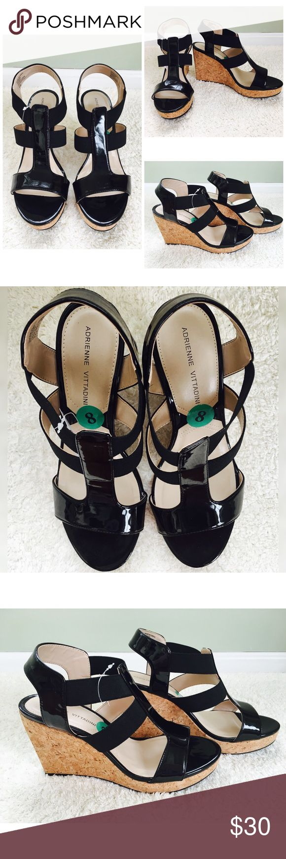 Adrienne Vittadini Wedges!!👠🌴 NWT! Trendy & Chic Adrenne Vittadini Wedges. Top is black patent leather mixed with a black stretchy fabric. Never worn! NWT! Adrienne Vittadini Shoes Heels