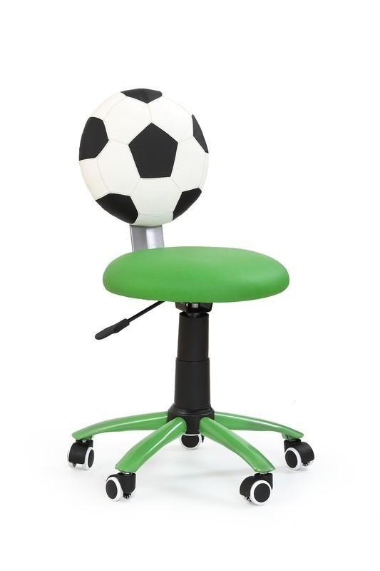 Voetbal is een moderne kinderbureaustoel uitgevoerd met een verchroomd stalen poot afgewerkt met zwart kunststof en zwarte kunststof wieltjes aan de onderzijde. De zitting is gemaakt van kunstleer en is uitgevoerd in de vorm van een voetbal, erg leuk en zeer decoratief op bijvoorbeeld een kinderkamer!