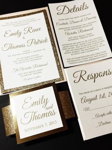 Blush and Gold Glitter Wedding Invitation, Elegant Wedding Invitation - EMILY VERSION