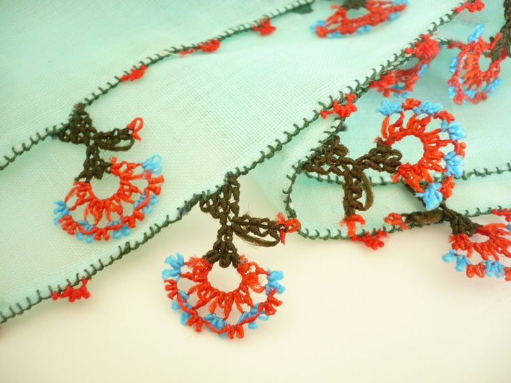 Turkish needle laced antique scarf / Handicraft vintage foulard / cotton, turquoise, floral printed versatile kerchief / unique gift idea by TurkishHands on Etsy