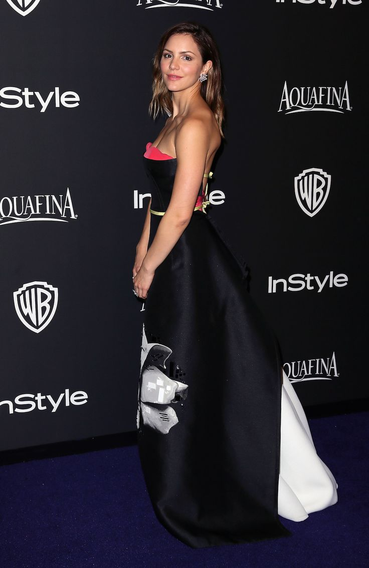 Katharine McPhee in Carolina Herrera Spring '15 at the InStyle Golden Globes Party