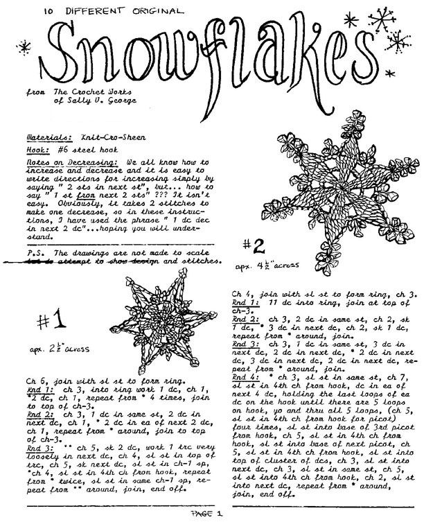 10 crochet Snowflake patterns