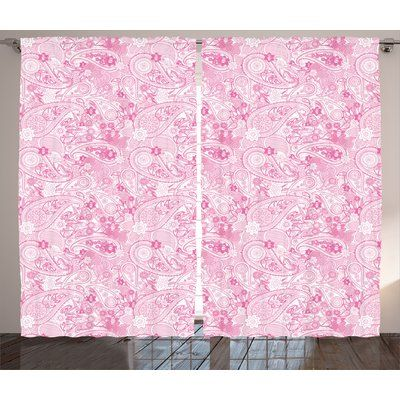 Harriet Bee Amos Paisley Asian Models Inspired Design with Flowers and Leaf Circled Shapes Image Graphic Print & Text Semi-Sheer Rod Pocket Curtain...