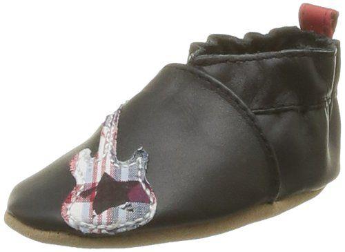 Robeez Rb37780 Mr. Roc – Zapatos primeros pasos de cuero para niño negro Noir (Noir 8) 21-22