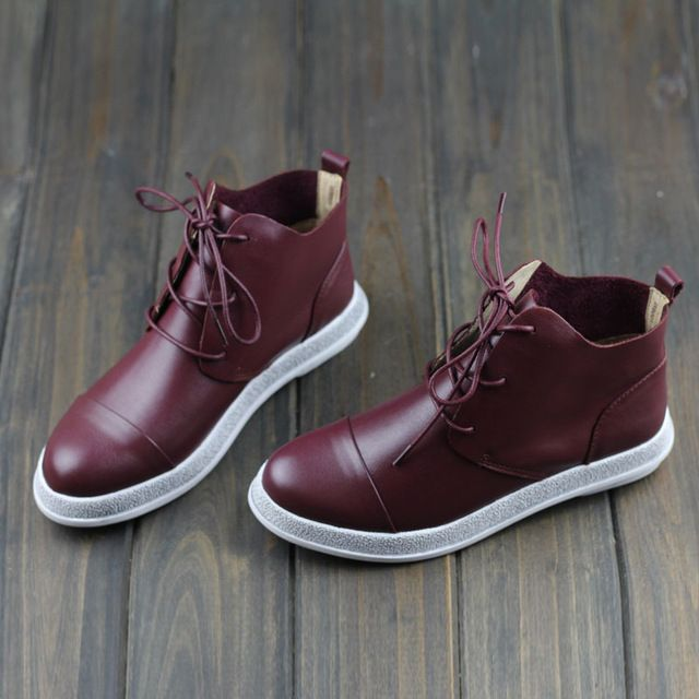 Siyah/Kırmızı Hakiki Deri Ayak Bileği Çizmeler Kadınlar Için Sivri Burun Dantel kadar Rahat Düz Ayakkabı Moda Bayan Çizmeler Yüksek kalite (w8001)