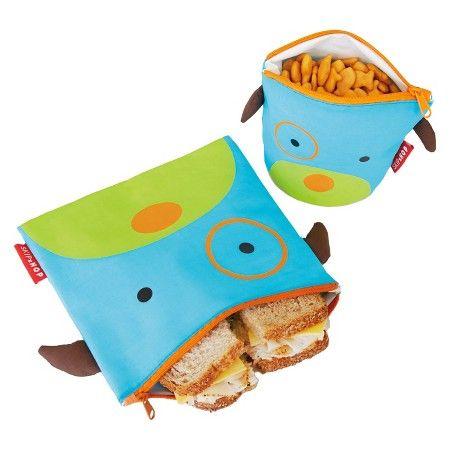 Skip Hop Zoo Toddler Reusable Sandwich and Snack Bag Set - Dog