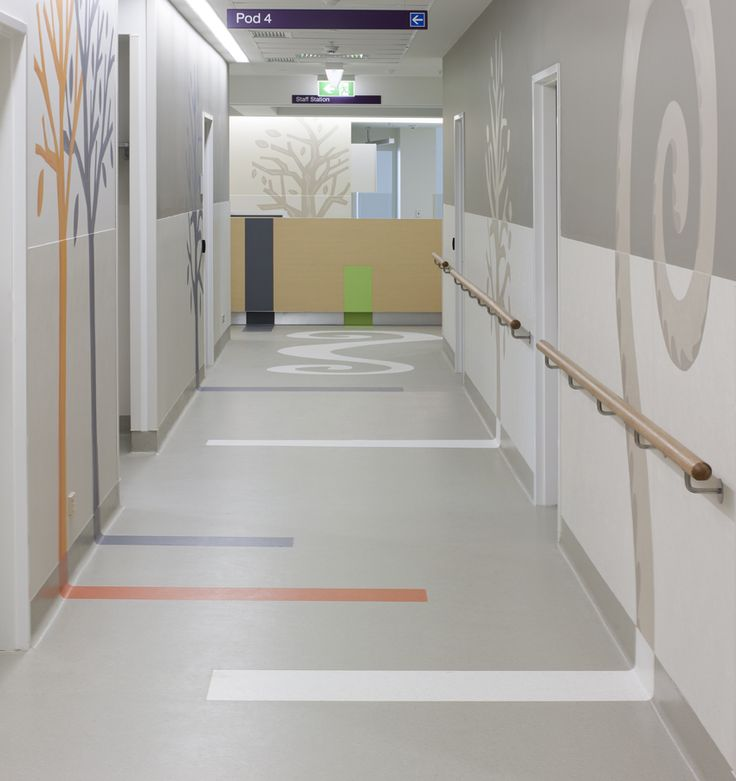 Stripe On Floor Up To Graphic On Wall For Wayfinding