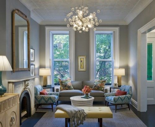 Wall color is Coventry Gray by Benjamin Moore. Such a pretty room.