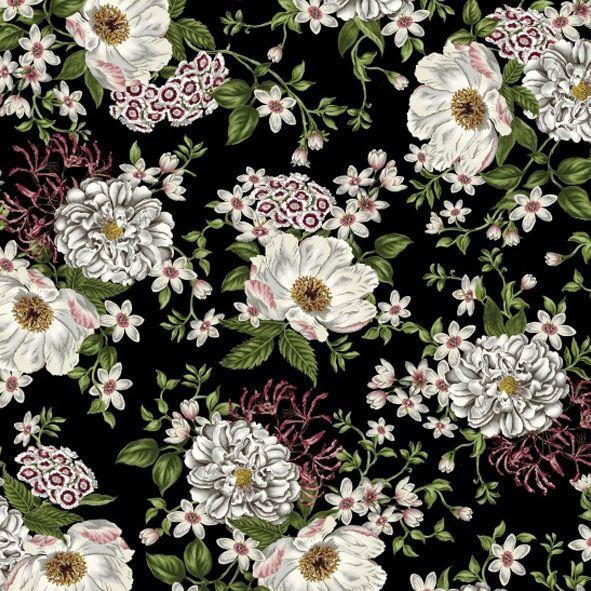 Bavlněná látka Velké květy černé SE