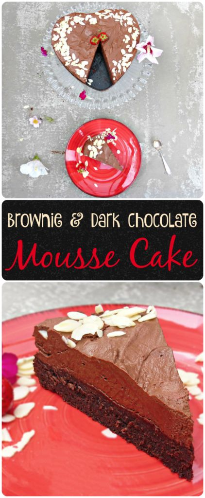 Brownie and Dark Chocolate Mousse Cake is a decadent dessert you don't want to miss. It's got a rich brownie base and topped with an intense dark chocolate mousse. It's a cake to die for! #cake #darkchocolate #moussecake #dessert #brownie