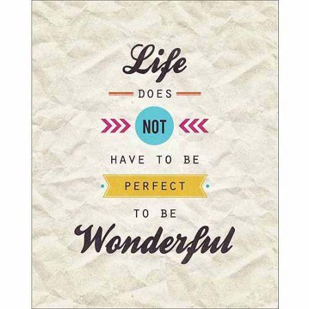 Perfect Vs. Wonderful Modern Vector Banner Inspirational Typography Tan & Brown Canvas Art by Pied Piper Creative, Beige