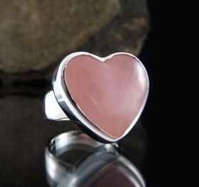 Rose Quartz Heart Ring by Entia Jewellery