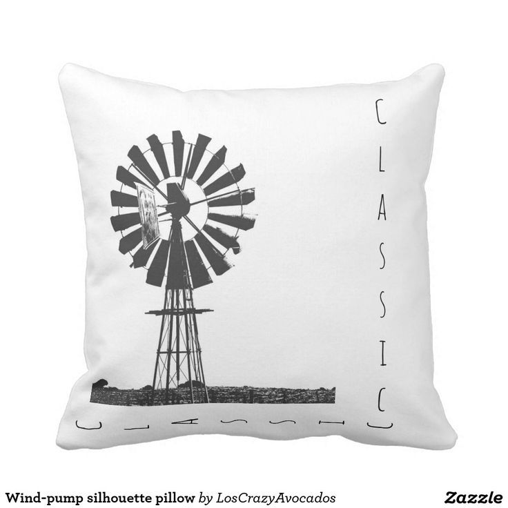 Wind-pump silhouette pillow