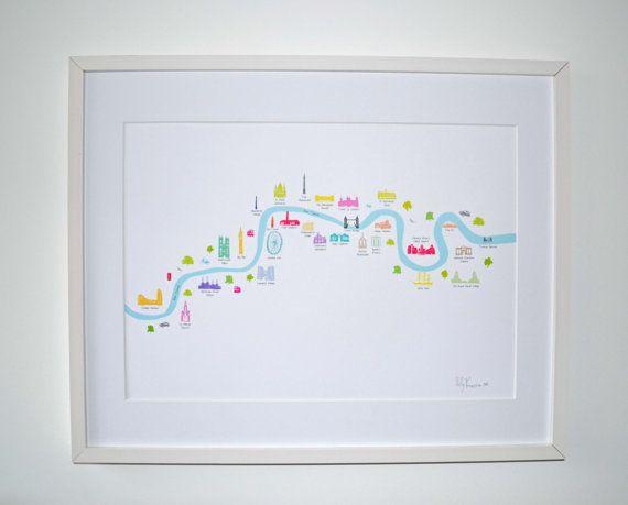 London River Thames Map Art Print by hollyfrancesca on Etsy, £20.00