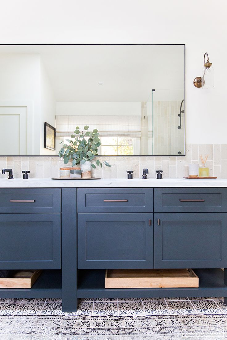 Framed bathroom mirrors ideas - Huge Mirror Large Mirrors Navy Mirror Large Vanity Mirror Framing A Mirror Vanity Redo Bathroom Vanity Cabinets Bathroom Mirrors Bathroom Ideas