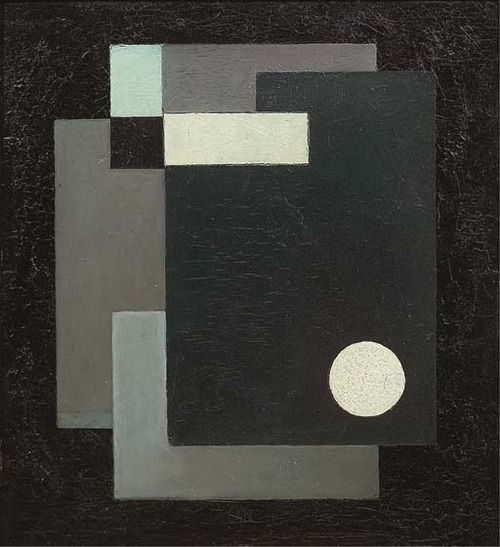 Gösta Adrian-Nilsson (Swedish, 1884-1965), Plangeometri, 1930. Oil on panel, 34.5 x 31.5 cm.