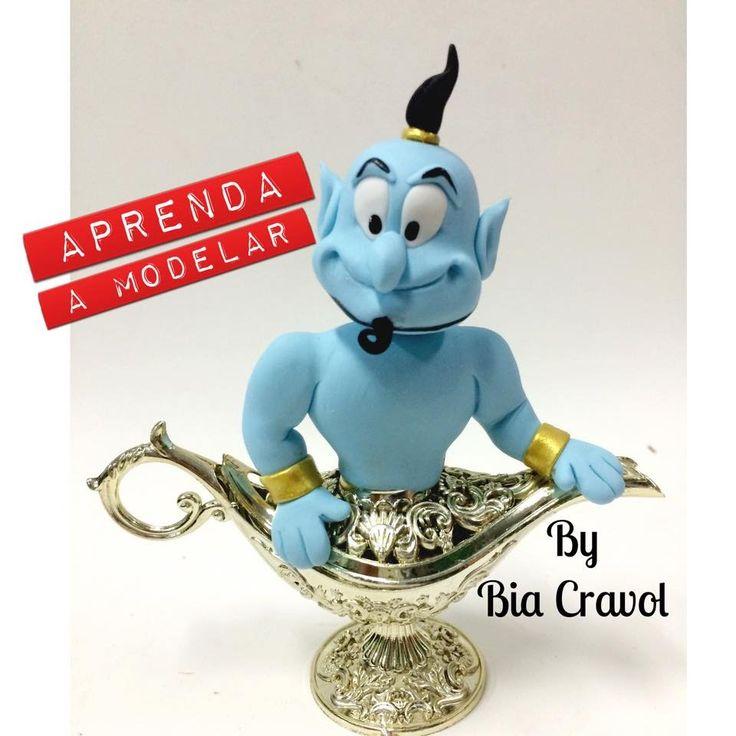 DIY - Gênio da lampada - Aladim - Bia Cravol - Biscuit - porcelana fria ...