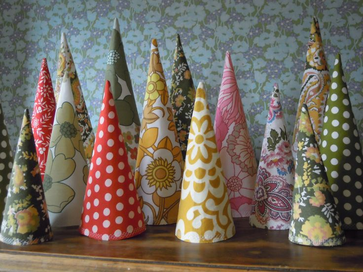 cone fabric Christmas trees.
