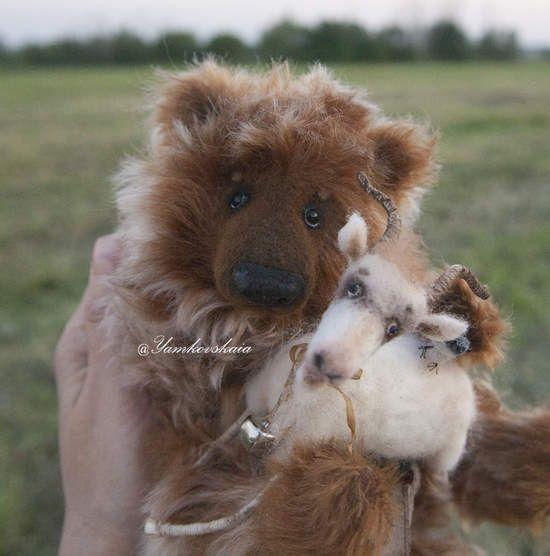 Trio. Bear Nicholas, goat Yasha and bird. by By Marina Yamkovskaia | Bear Pile