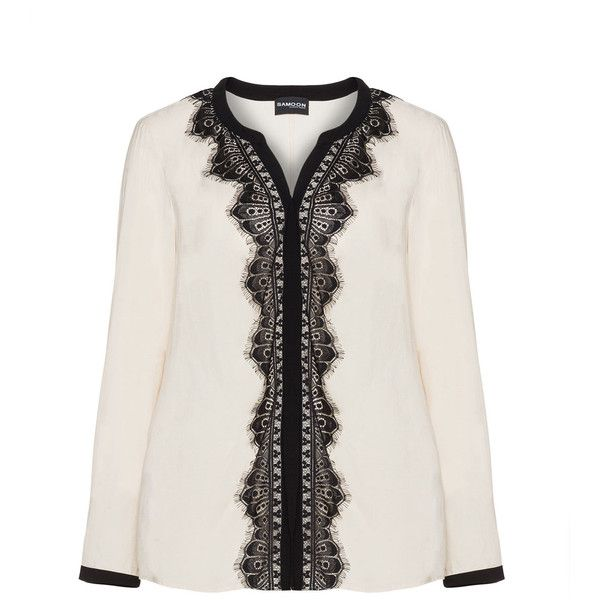 Samoon Beige / Black Plus Size Two tone lace accent blouse (525 HRK) ❤ liked on Polyvore featuring tops, blouses, beige, plus size, lace blouse, black blouse, sheer lace blouse, plus size blouses and black long sleeve blouse