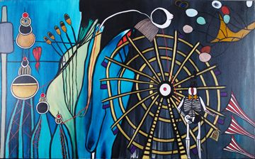 """COME INSIDE THE BARON SATURDAY"" Oil on Canvas Framed 33.5"" x 51.5"" 2014 #painting #oilpainting #baronsamedi #baronsaturday #loaofhaitiangvodou #magic  #ancestors #death #giveroflife #blackmagic #rum #cigar   #symbolism #originalart #mythological #art #artcollecting #artbuyers #artlovers #artcollectors #emergingartist"