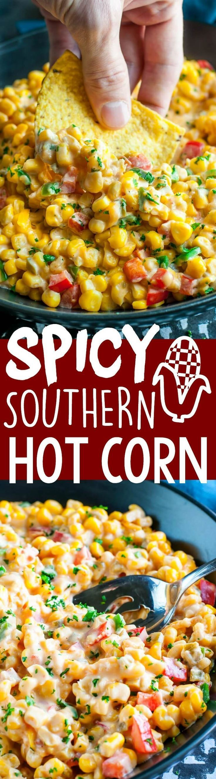 Every Thanksgiving my husband begs for this Spicy Southern Hot Corn! This sassy Southern-style recipe has been part of our holiday meal tradition for years and doubles as a side dish AND a dip!