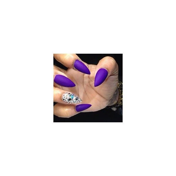 Purple Stiletto Nails ❤ liked on Polyvore featuring beauty products, nail care, nail treatments and nails