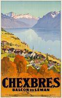CHEXBRES Дальний вид На Море Горы Швейцария Путешествия Серии Старинные Плакат…
