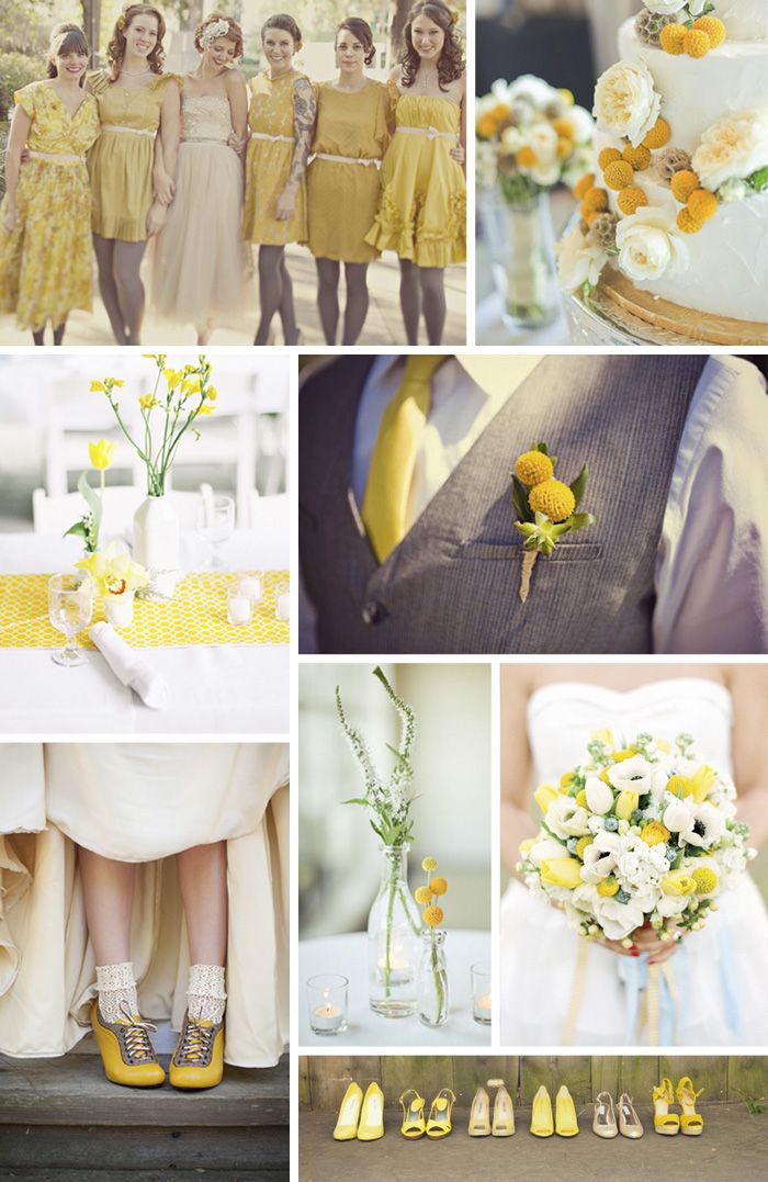 Yellow Vintage Wedding yellow and gray wedding #wedding #vintage