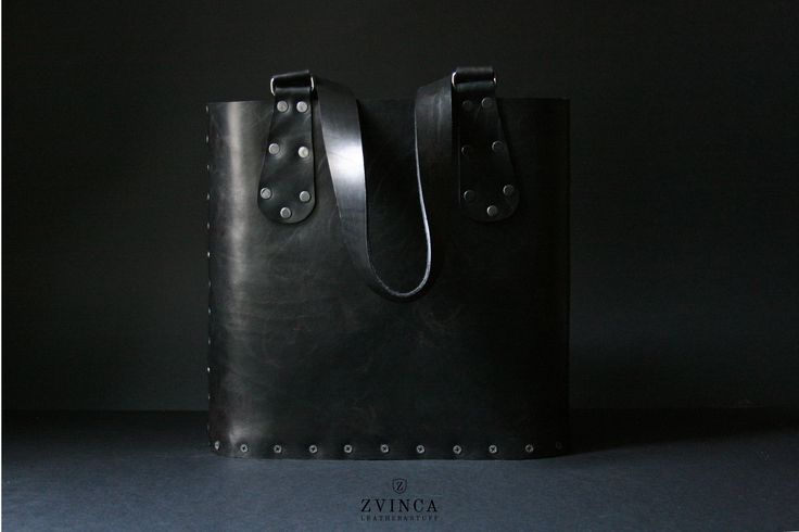 Leather and Wood Tote Bag by ZVINCA