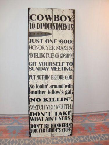 The Cowboy Ten Commandments Wood Plank Wall Hanging Sign Western Home Decor 10 B | eBay