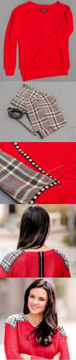 DIY Crimenes de la Moda - Jersey tartán con tachuelas - Studded tartan sweater