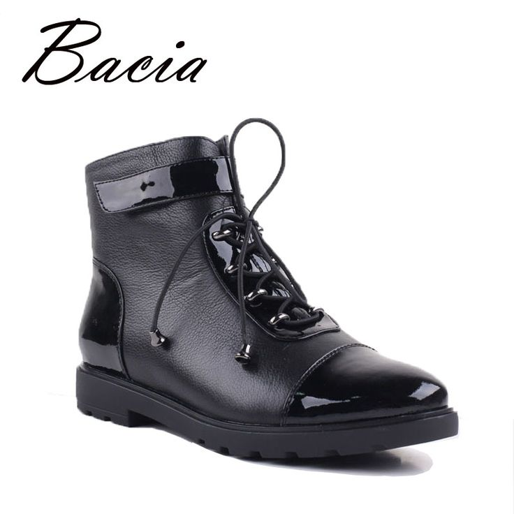 Bacia New Women's Ankle Boots High Quality Handmade Genuine Leather Lace Up  Shoes Russian Original Style Plush Black Boots