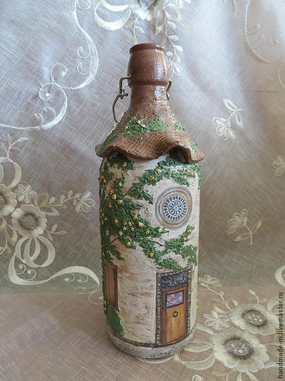"""Декоративная бутылка """"Домик с розами"""" - декорирование бутылок,Декоративная бутылка"""