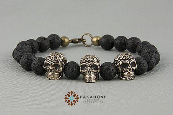 Armband mit Bronze Schädel und Lava Perlen Armband mit Schädel