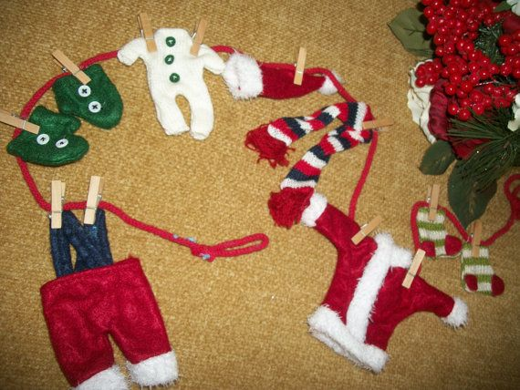 Santa Claus Laundry Clothes Line Garland by TKSPRINGTHINGS on Etsy, $12.95