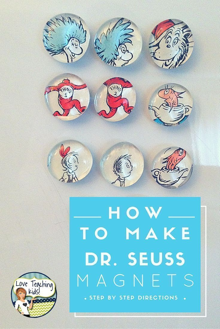 These Cat in the Hat magnets are super easy to make. This DIY craft is a fun idea to do with your kids. There are step by step directions on how to make these Dr. Seuss magnets.