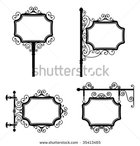 Black and white wrought iron vintage signs set - stock vector