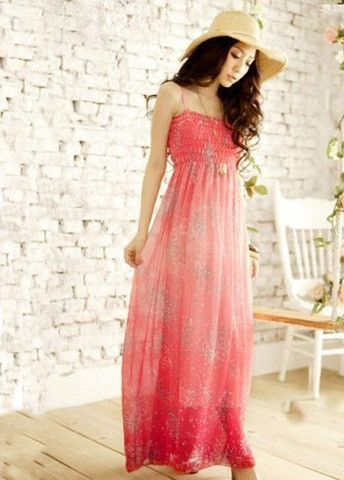 Summer High Waist Spaghetti Strap Design Maxi Dress Red – teeteecee - fashion in style