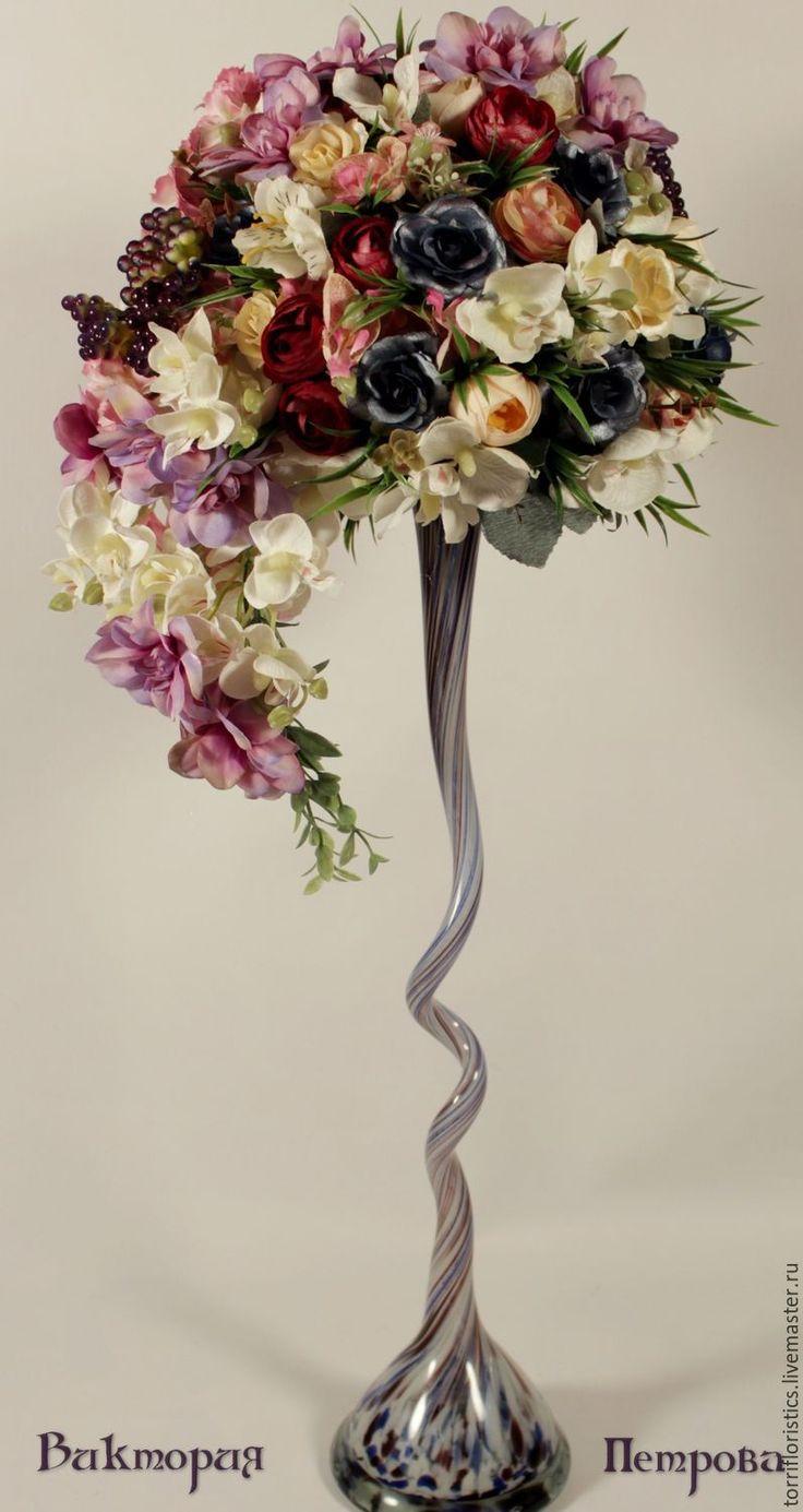 Купить Интерьерная композиция ФЛАМЕНКО - фиолетовый, интерьер, интерьерная композиция, интерьерное украшение, интерьерный букет