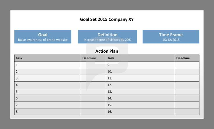 SMART Goals for PowerPoint: Action Plan, Goal, Definition and Time Frame are important elements of the SMART Goals. For more information and useful tools, check out our SMART Goals PowerPoint Template. http://www.presentationload.com/smart-goals-powerpoint-template.html