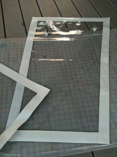 Weather-proofing a porch: 20 gauge clear vinyl, 2″ white Duck Tape, Dritz 7/16″ steel grommets, 5/16″ screw-eye hooks.