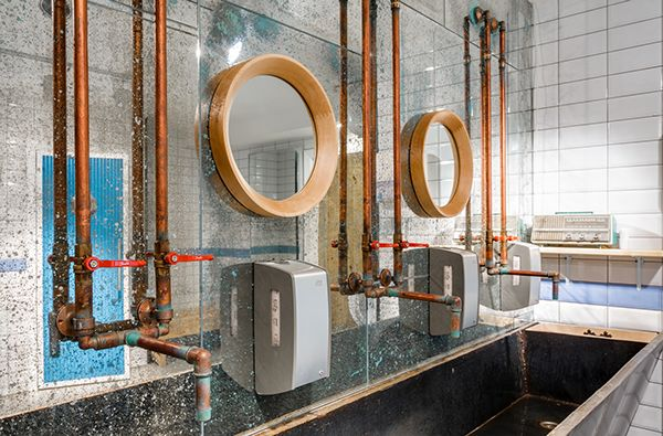 Mirrors in Babetta Cafe. Design by @gsignstudio  #mirror #toilet #design