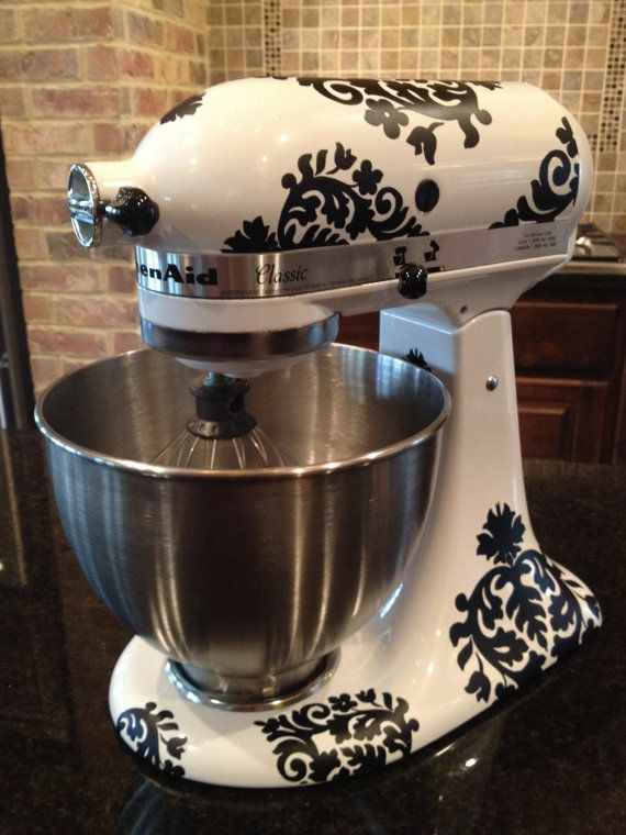 Kitchen Mixer Vinyl DecalsDamask by thewordnerdstudio on Etsy, $20.50...want it in white